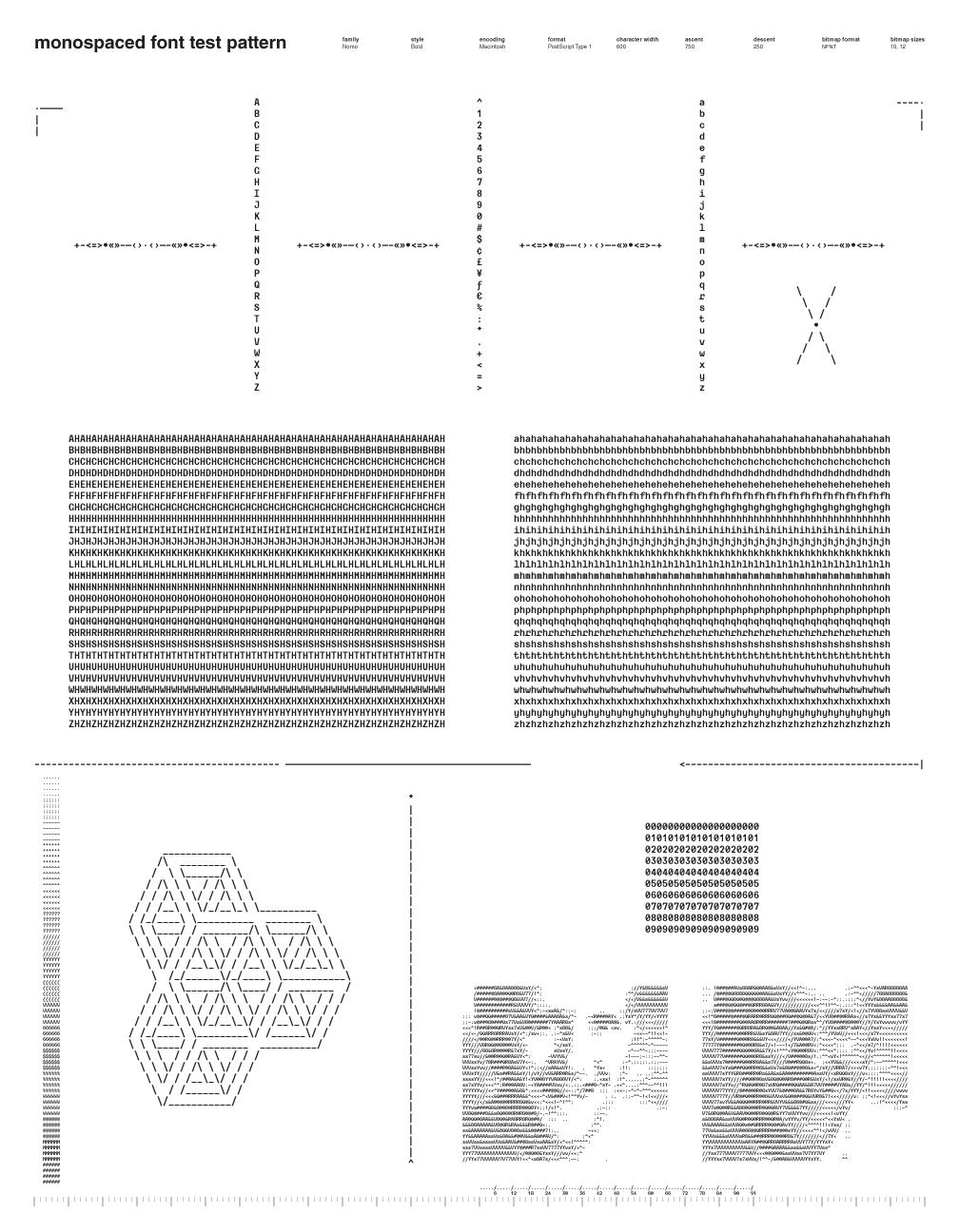 Monospaced Font Test Pattern: Nomo Bold