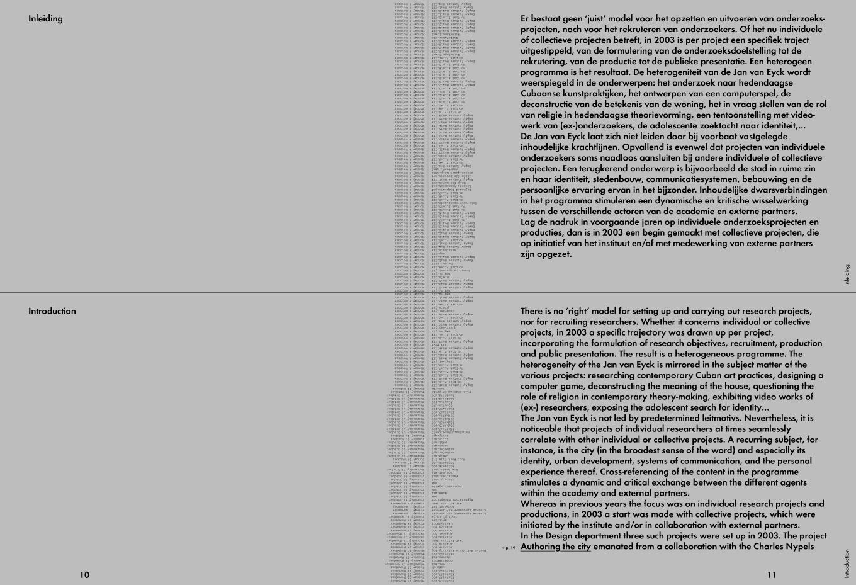 Jan van Eyck Academie Annual Report 2003