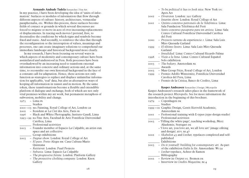 Jan van Eyck Academie Programme 2004