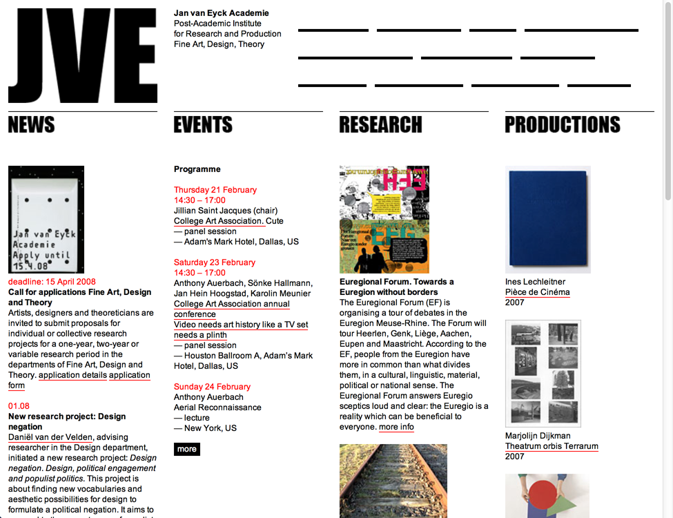 Jan van Eyck Academie: Website, 2011